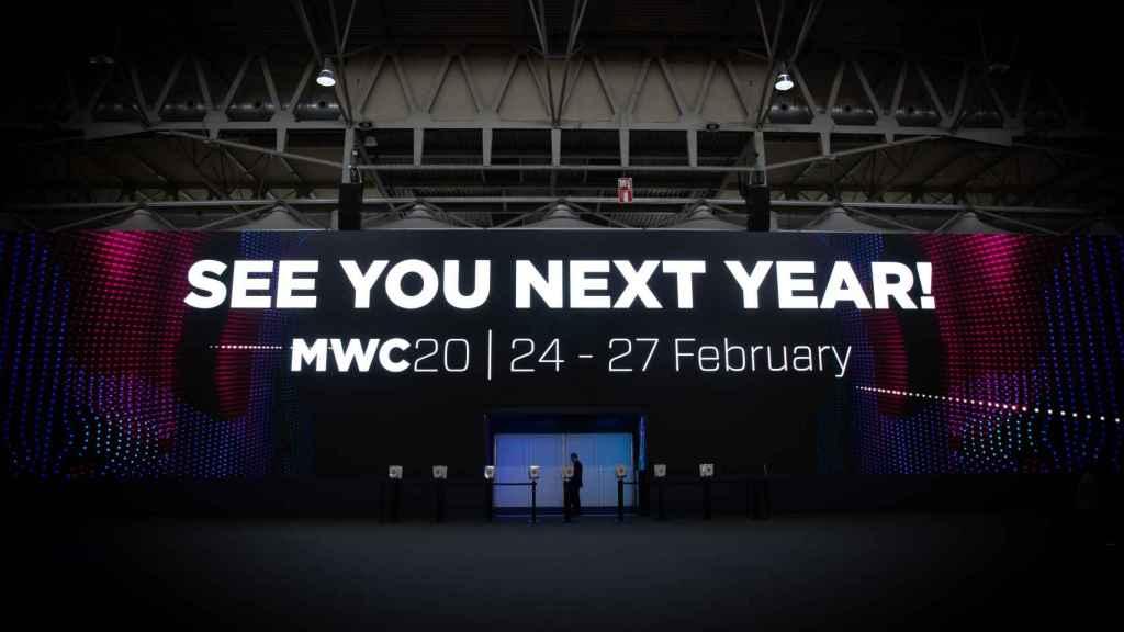 Detalle del cartel de despedida dl Mobile World Congress Barcelona - MWC 2019.