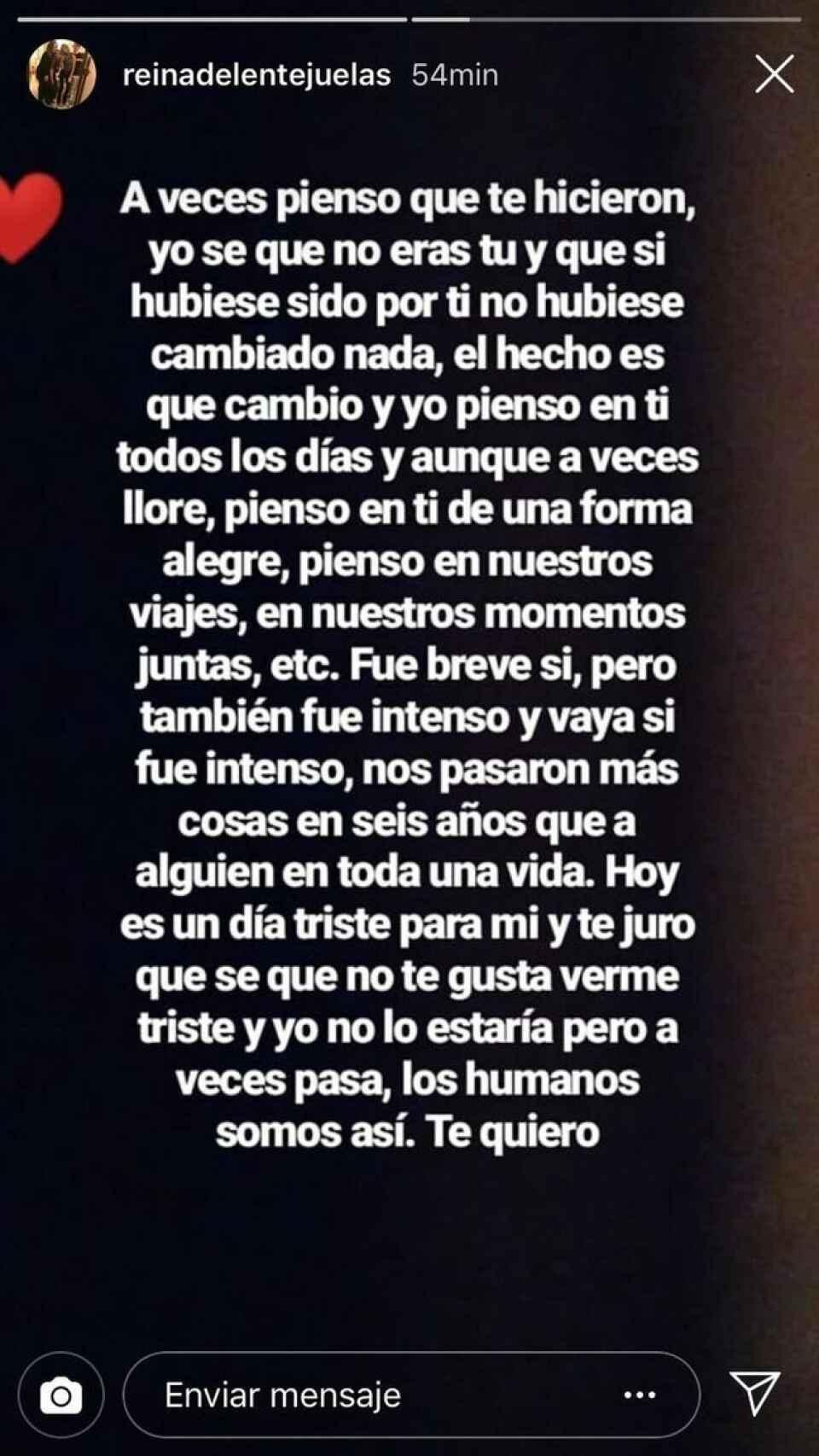Carta de Carla Vigo a Érika en febrero de 2019.