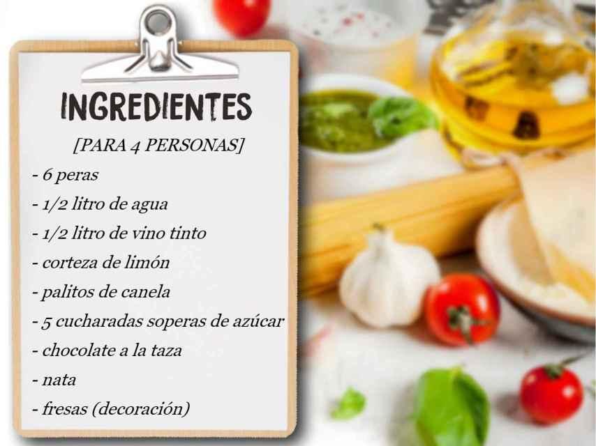 Estos son los ingredientes necesarios para la receta de las peras al vino.