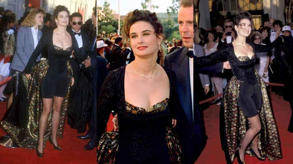 Demi Moore with her criticized 'look' in 1989.