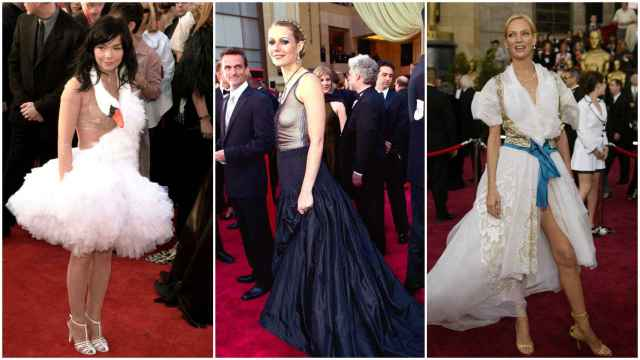 Bjork, Gwyneth Paltrow y Uma Thurman luciendo algunos de los peores vestidos de la historia de los Oscar.