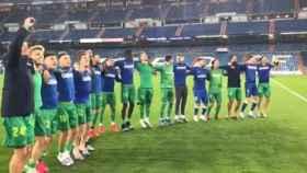 La Real Sociedad celebra la victoria en el Santiago Bernabéu