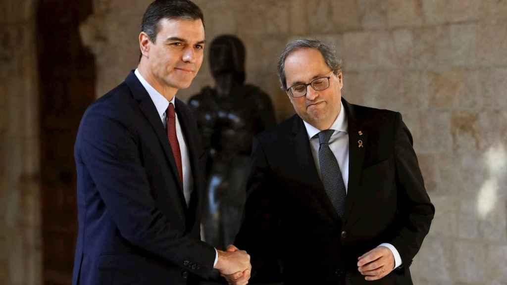 Pedro Sánchez y Quim Torra, este jueves en el Palau de la Generalitat, en Barcelona.
