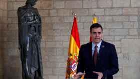 Pedro Sánchez, durante su comparecencia este jueves en el Palau de la Generalitat.