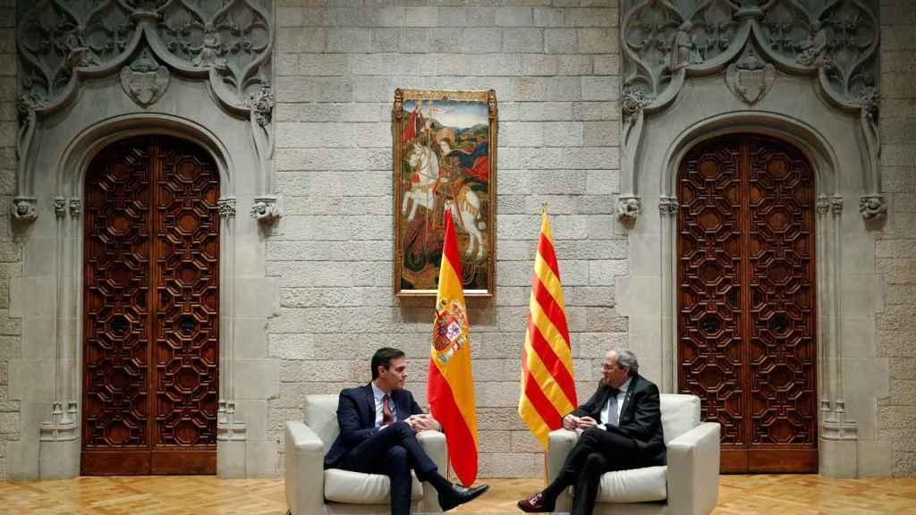 Pedro Sánchez y Quim Torra en el Palau de la Generalitat en Barcelona.