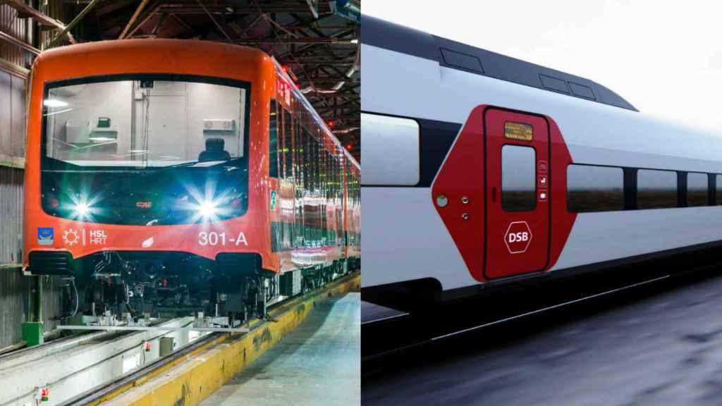 Imagen de un tren noruego que mantendrá CAF y del modelo con el que Talgo se ha impuesto en Dinamarca.