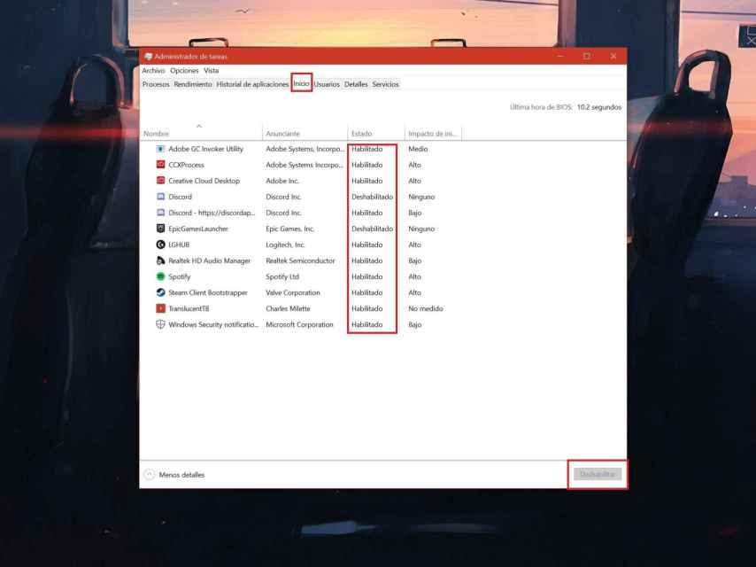 Administrador de tareas de Windows.