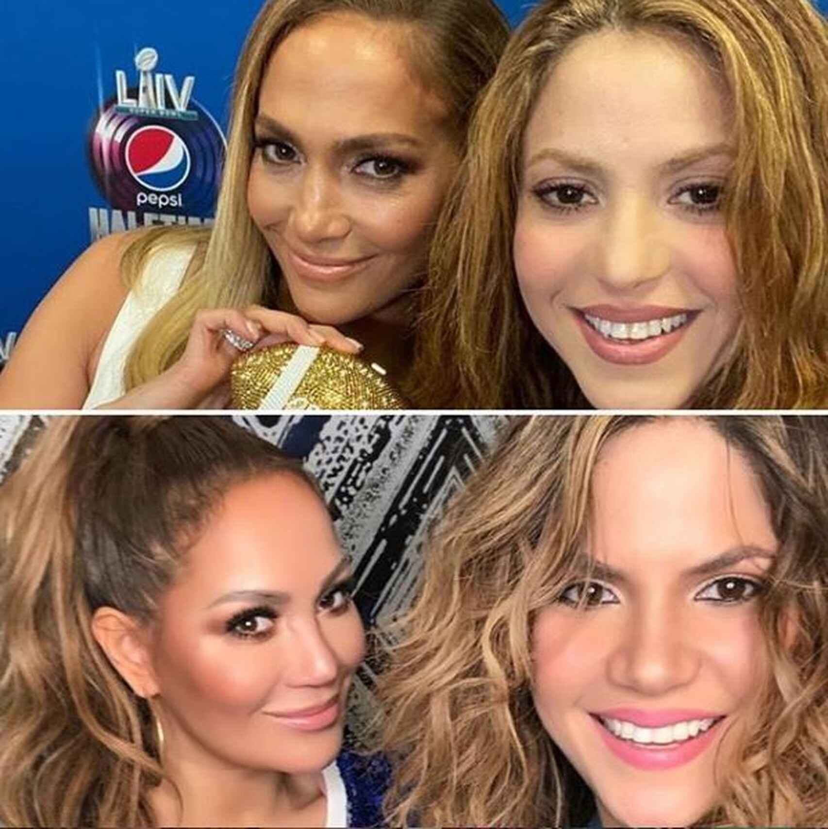 Arriba, las auténticas JLo y Shakira; abajo, sus dobles oficiales, Connie y Rebeca.