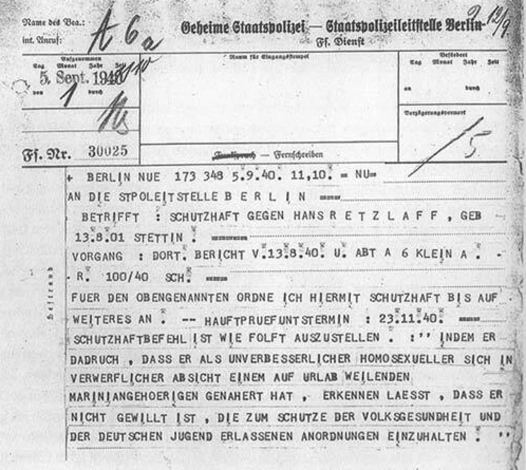 Carta de la Gestapo con una orden para la detención de un homosexual incorregible.