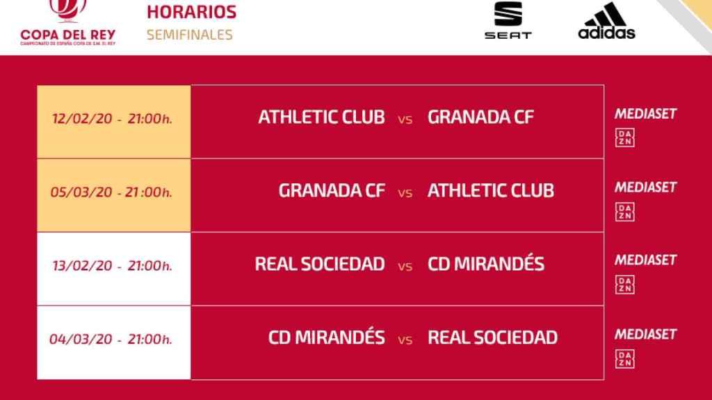 Los horarios de las semifinales de la Copa del Rey