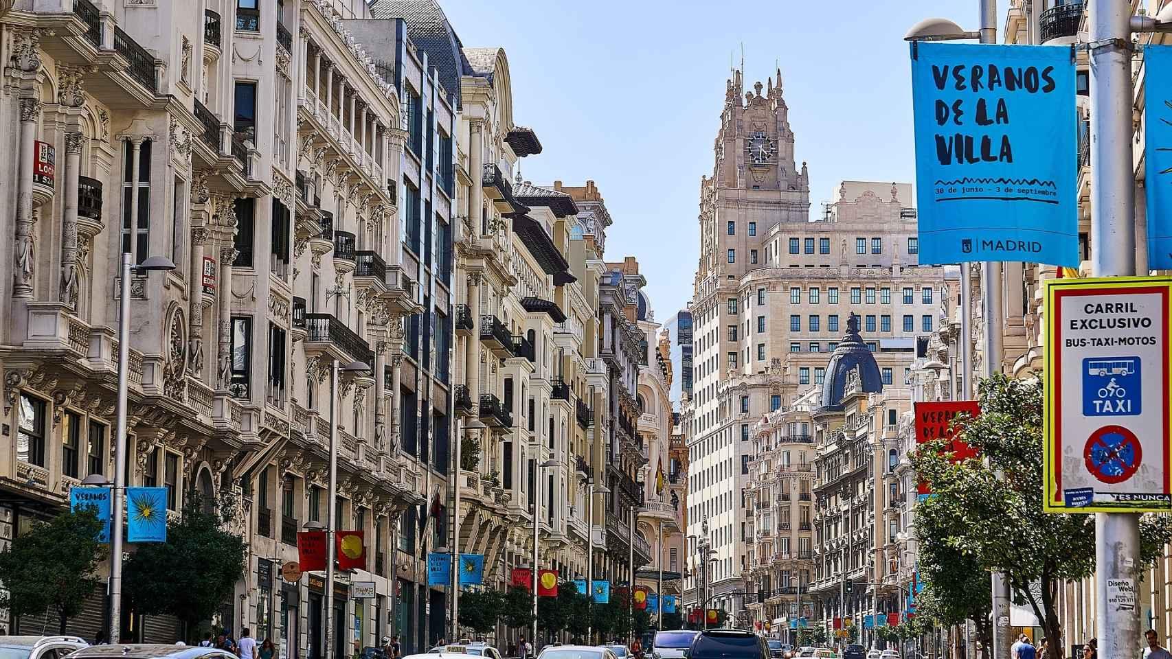 Imagen de la Gran Vía madrileña.