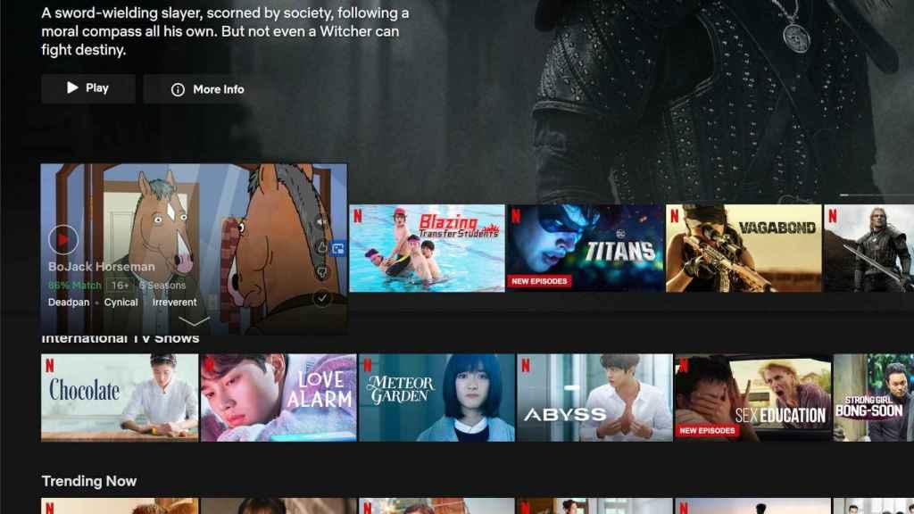 Video reproduciéndose en la portada de Netflix