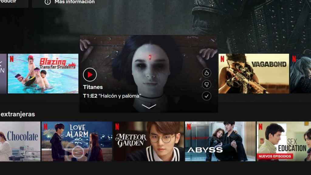 Con la opción desactivada en Netflix, sólo se muestra una imagen