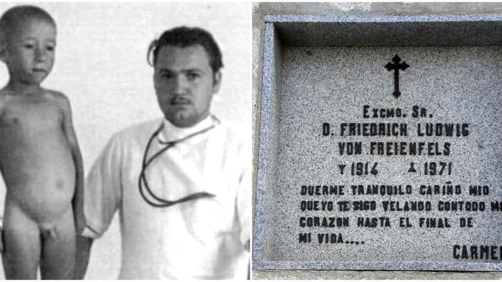 El Doctor Pirata mientras ejercía en Chipiona. A la derecha, su tumba en Madrid.
