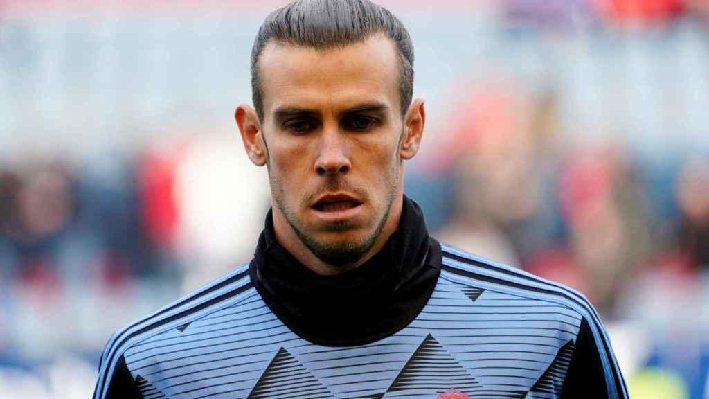 Gareth Bale, durante el calentamiento previo al Osasuna - Real Madrid