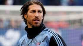 Sergio Ramos, durante el calentamiento previo al Osasuna - Real Madrid