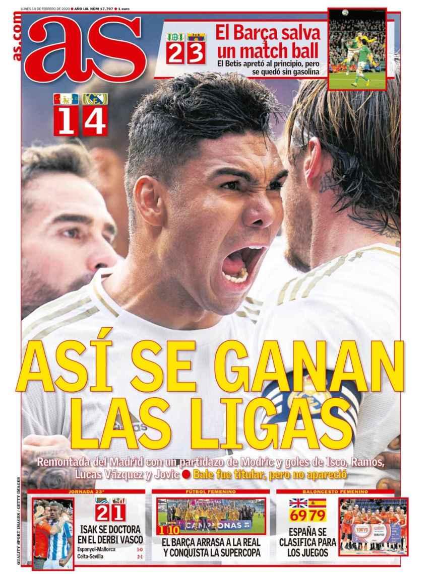 La portada del diario AS (10/02/2020)