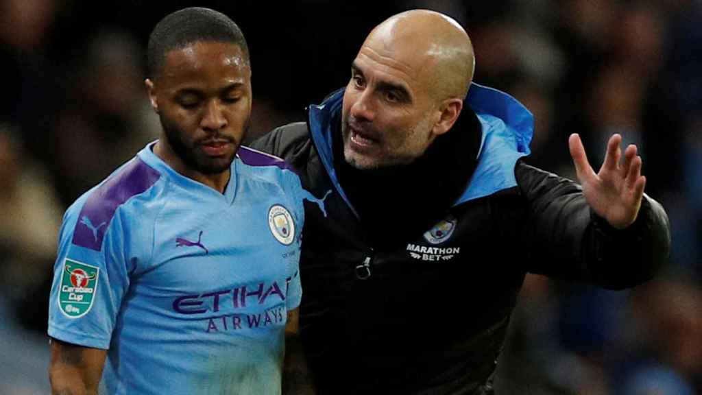 Sterling y Guardiola, en el Manchester City