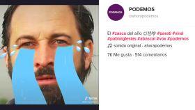 Captura del vídeo de Podemos en TikTok donde se meten con Santiago Abascal