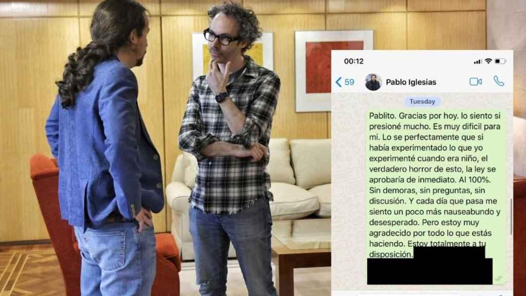 Pablo Iglesias y James Rhodes, en el Ministerio de Derechos Sociales el pasado 4 de febrero.