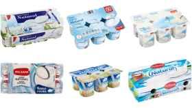 Yogures naturales de marca blanca.