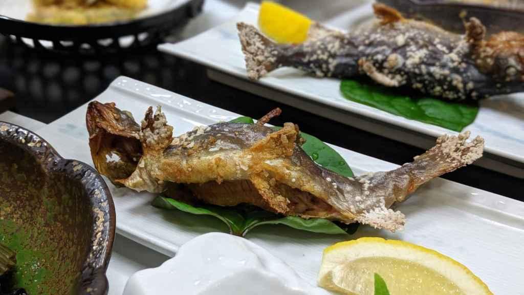 Trucha en la cena de Akao-kan