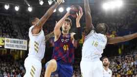 Tomic, Garuba y Thompkins, durante un Real Madrid - Barcelona