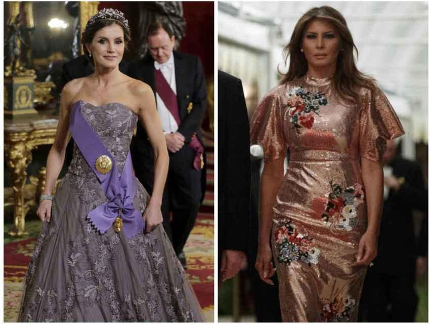 Letizia y Melania, vestidas de gala en dos momentos diferentes de su agenda.
