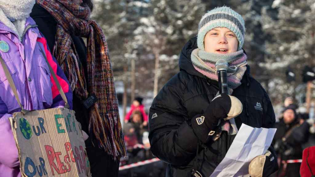 Greta Thunberg en una huelga climática en Jokkmokk, Suecia, el 07 de febrero de 2020.