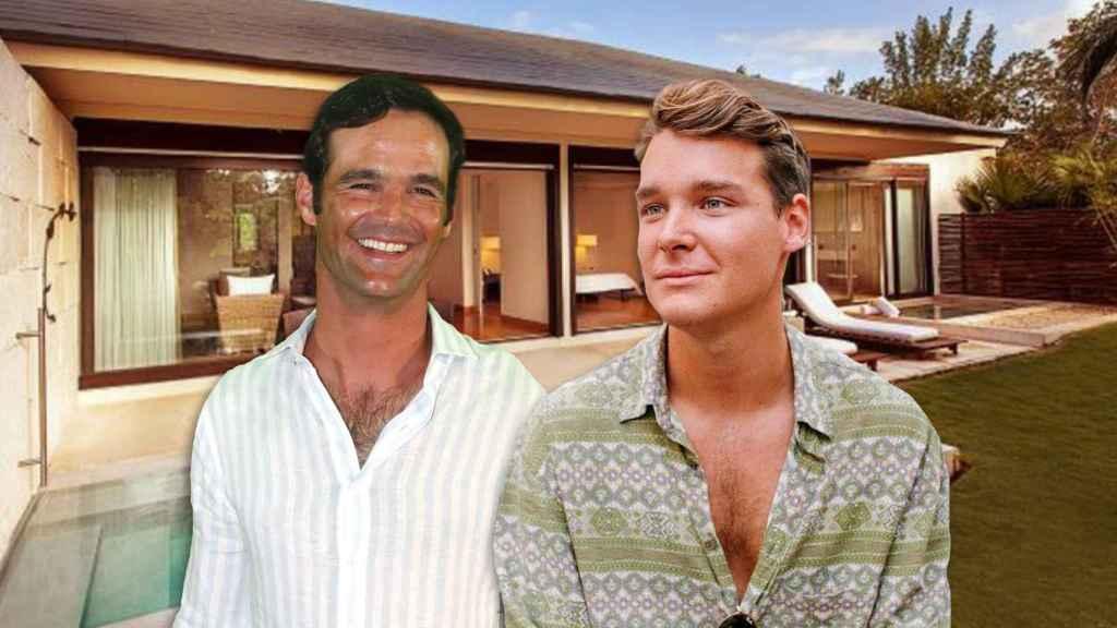 José Bono Jr. y Aitor Gómez en un montaje de JALEOS frente a la suite donde se están hospedando.