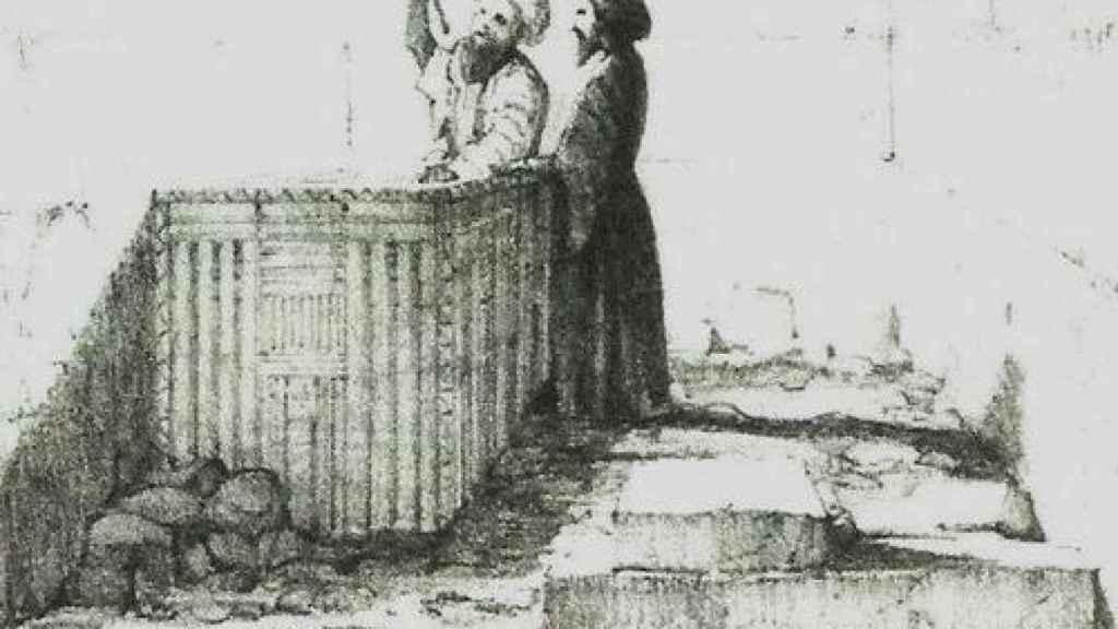 El sarcófago de Micerinos, según un dibujo realizado por Howard Vyse.