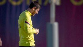 Messi, entrenando con el Barcelona