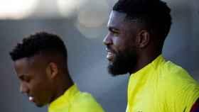 Umtiti, entrenando con el Barça