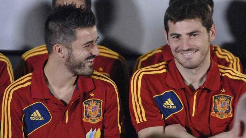 David Villa e Iker Casillas en la Selección