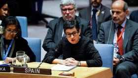 La ministra de Asuntos Exteriores, Arancha González Laya, este jueves en Nueva York.