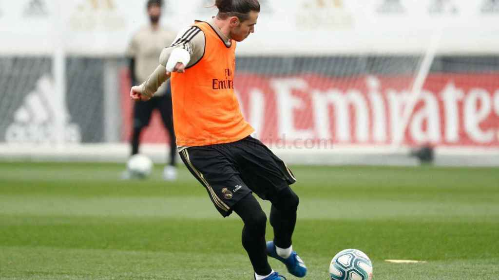 Gareth Bale, en el entrenamiento de este viernes