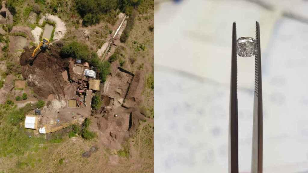 A la izquierda, una de las excavaciones en la mina de Manuel. A la derecha, uno de sus diamantes.