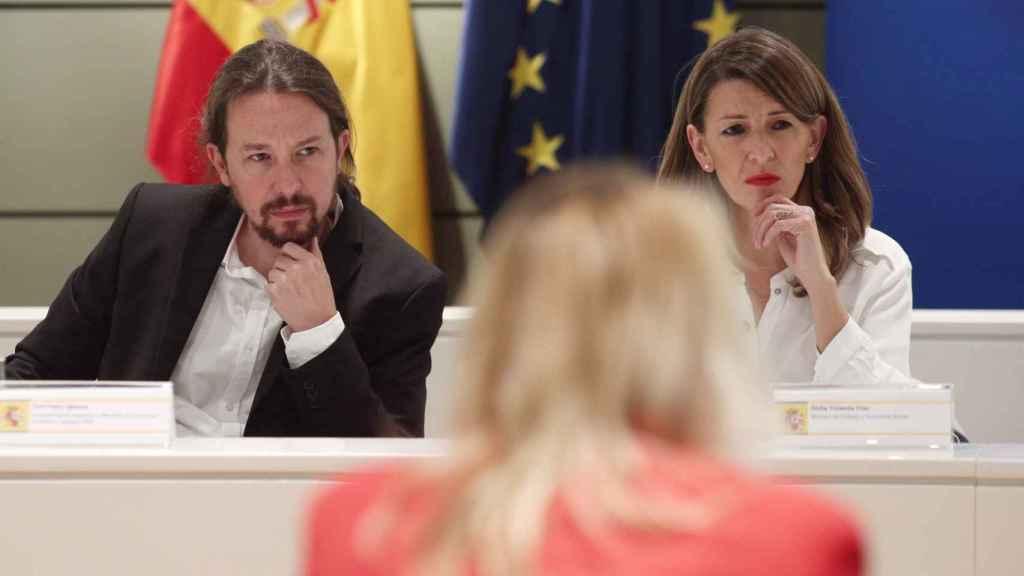 Pablo Iglesias, vicepresidente segundo, y Yolanda Díaz, ministra de Trabajo.