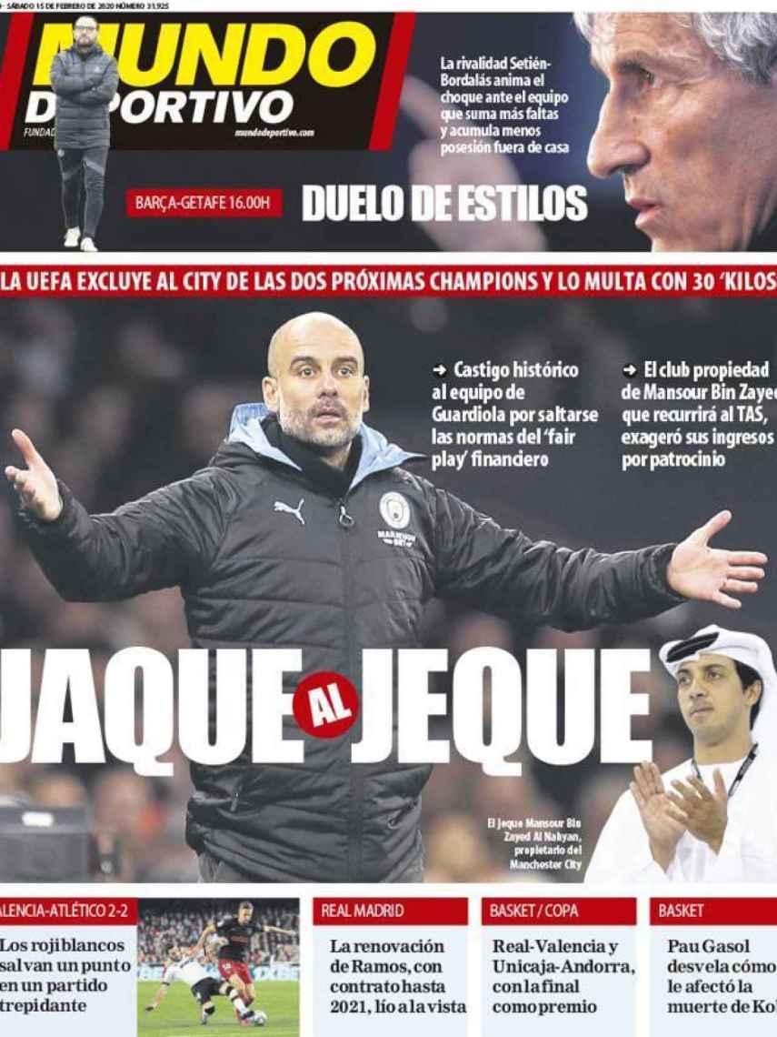 La portada del diario Mundo Deportivo (15/02/2020)