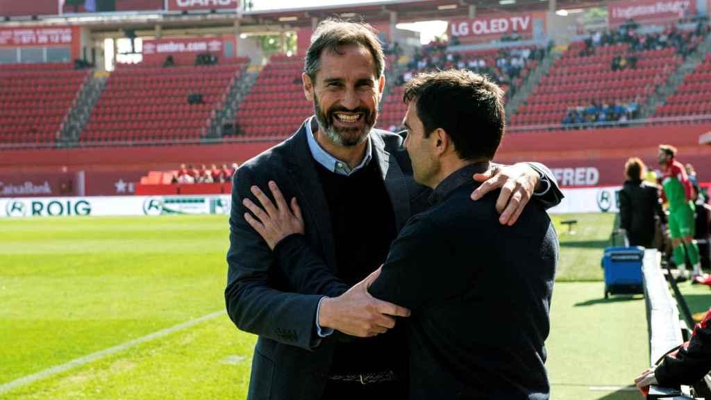 Vicente Moreno y Asier Garitano, antes del encuentro