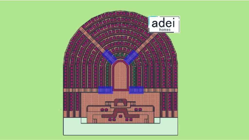 Plano de las cuatro escaleras que reformaría Diego Falces.