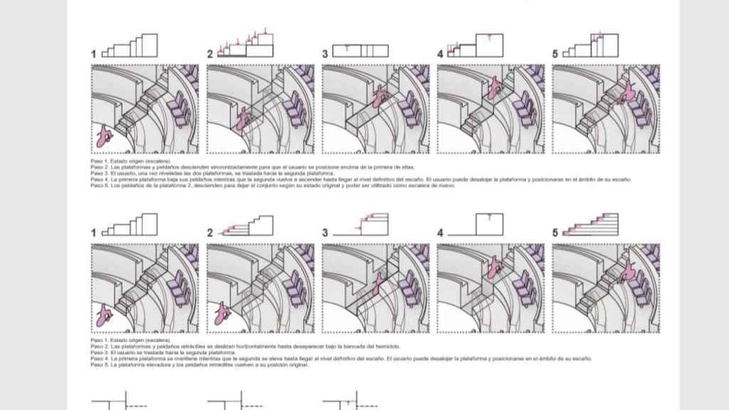 Primera propuesta de Díez y González Arquitectos: los escalones se mueven para generar plataformas estables.