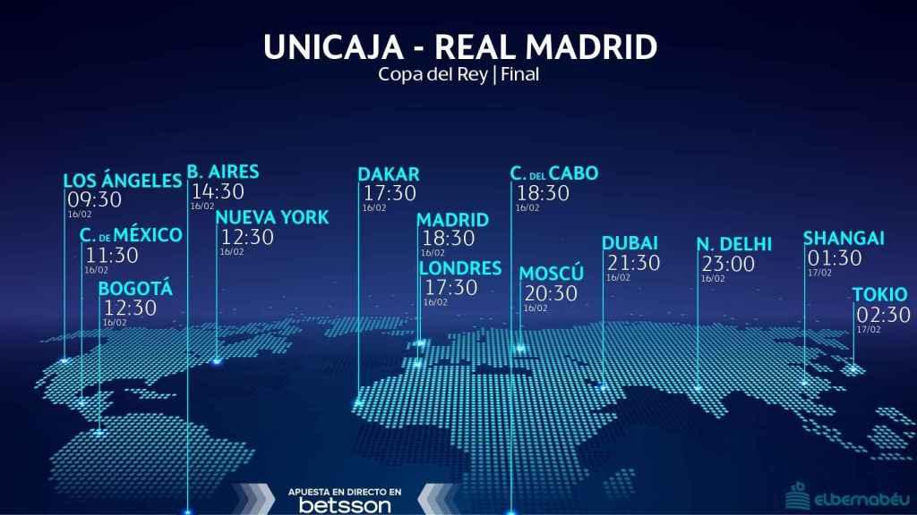 Horario internacional y dónde ver el Unicaja - Real Madrid, final de la Copa del Rey