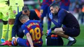 Jordi Alba, tras lesionarse