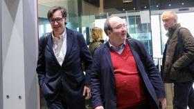 Salvador Illa, ministro de Sanidad y número dos del PSC, junto a Miquel Iceta, líder socialista catalán.