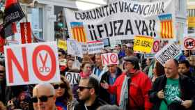 Manifestación de miles de interinos en Madrid.