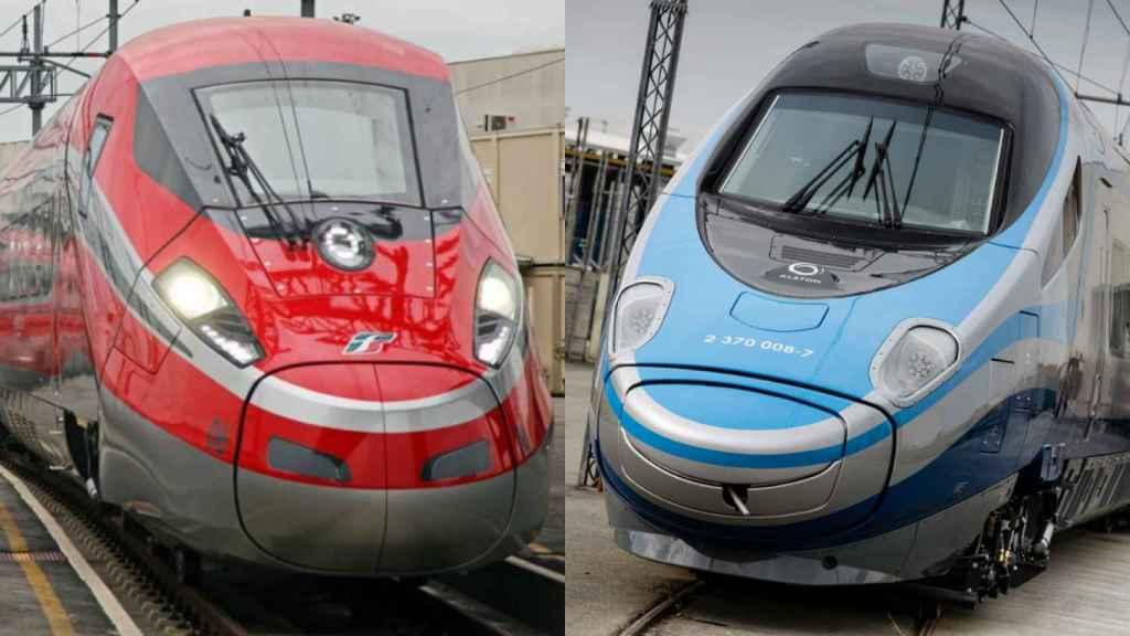 Un tren de alta velocidad de Bombardier, izquierda, y uno de Alstom, derecha.