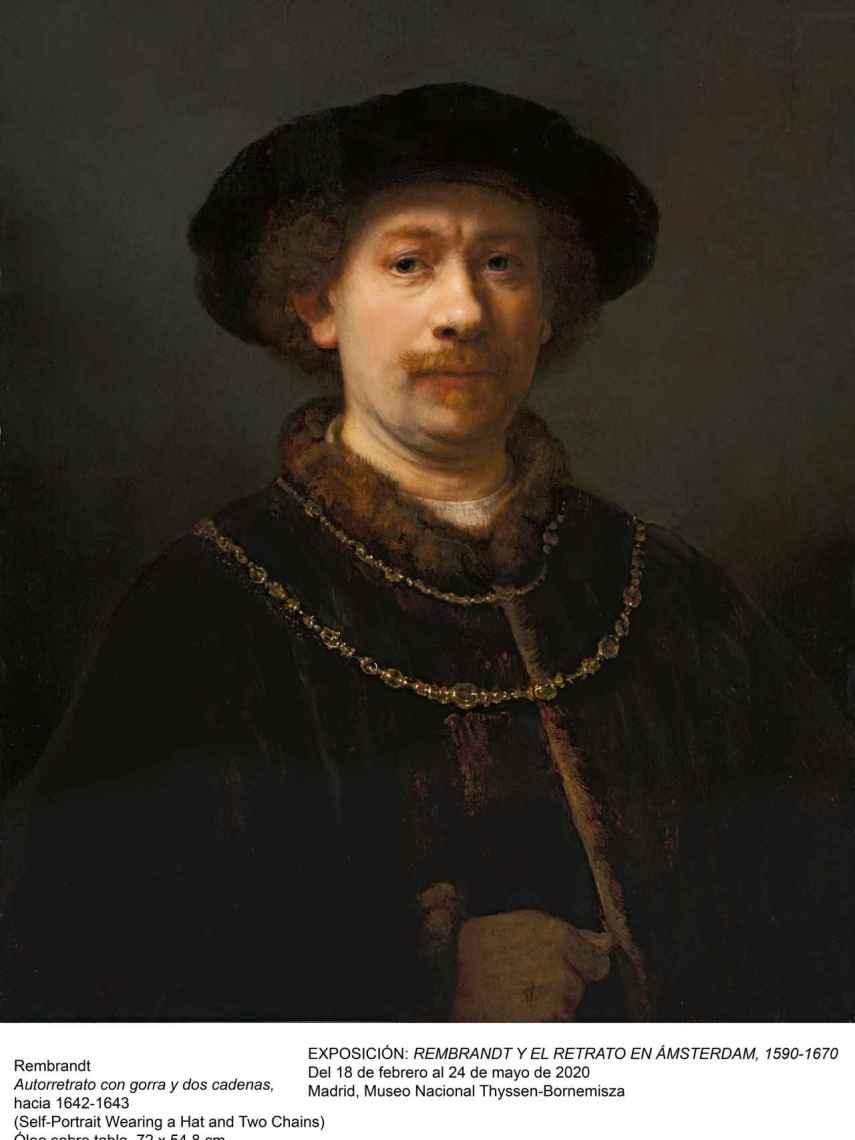 'Autorretrato con gorra y dos cadenas', de Rembrandt.