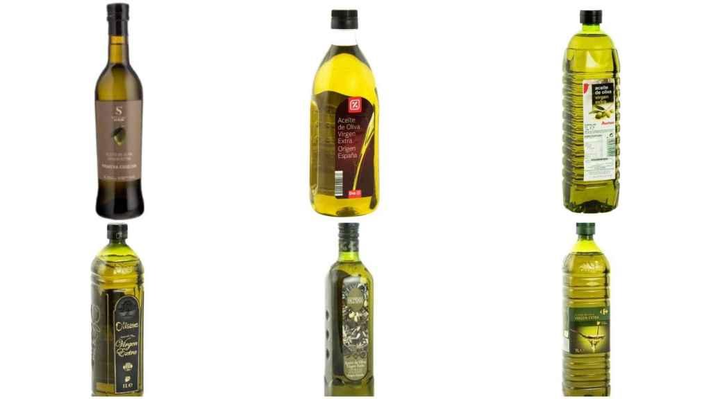 Aceites de oliva de marca blanca de Aldi, Mercadona, Lidl, Alcampo, Carrefour y Dia.