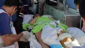 La zaragozana Noelia Traid, trasladada en ambulancia al hospital de Bangkok.